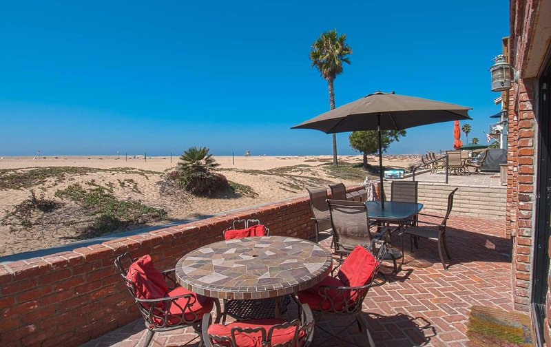 Patio showing view to the beach - 414 A E. Oceanfront - Newport Beach - rentals