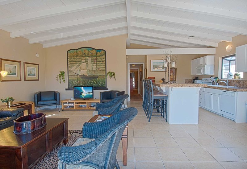 Inside photo showing the living room and kitchen area - 4814 B Neptune - Newport Beach - rentals