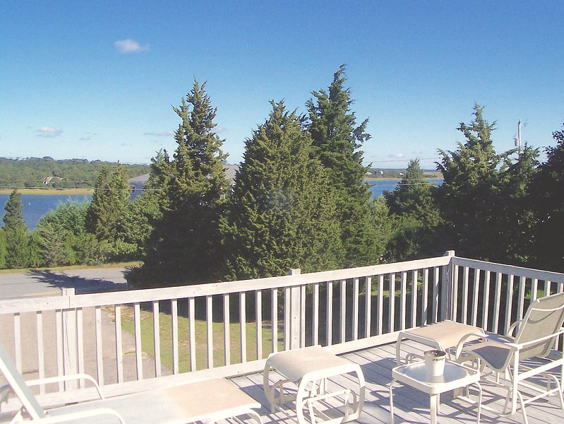 Commanding, elevated views of scenic Town Cove from the second level deck. There's plenty of comfy outdoor furniture here. - Orleans Private & Pretty, Views of Town Cove:032-O - East Orleans - rentals
