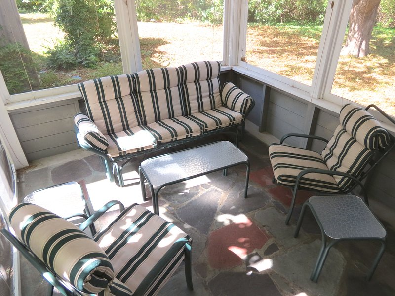 If you're like most folks who vacation here at Grace House, when you're not on the beach, you'll be enjoying this private, shaded screened porch. - Updated, 2 Minutes to Beach, Private Yard -- 031-B - Brewster - rentals