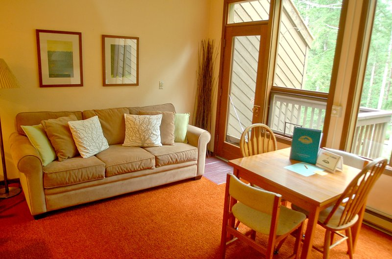 The living and dining area - 85SW Deluxe Snowater Condo on 20 Acres at Mt. Baker - Glacier - rentals