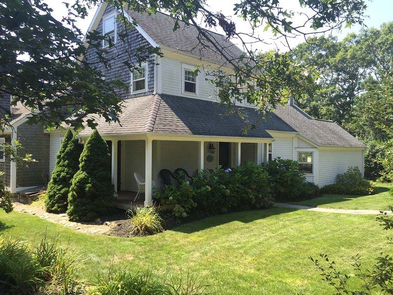 Entry Side of House with Shady Porch - MURPL - Meadow View Farms House, Beautiful Tri- Level Contemporary  Spacious - Oak Bluffs - rentals