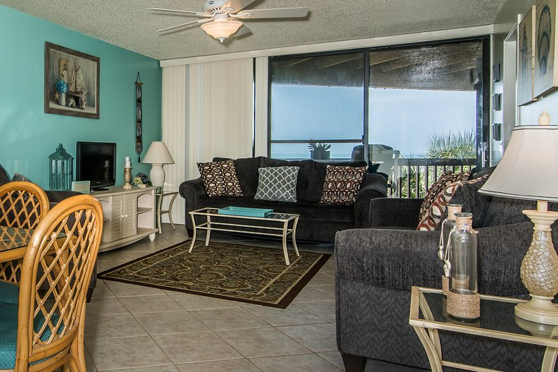 Great view of ocean from living room. - Hibiscus Resort - A201, Ocean Front, 2BR/2BTH, 3 Pools, Wifi - Saint Augustine - rentals