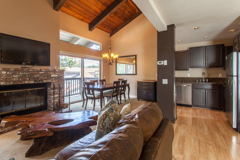 Living Room, Flat Screen TV, Wood Burning Fireplace, Dining Table 6 top, Kitchen- Granite/Stainless Steel Appliances - Chamonix # 88 - Mammoth Lakes - rentals