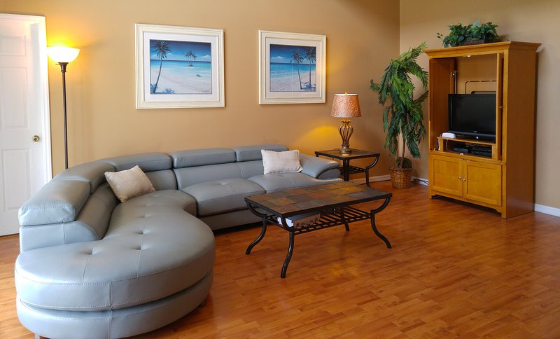 Family room (new sofa bought in Oct 2016) - Recently Renovated Luxury 7 br/4.5 bath Villa, WiFi, Pool/Spa,10 mins to Disney! - Four Corners - rentals