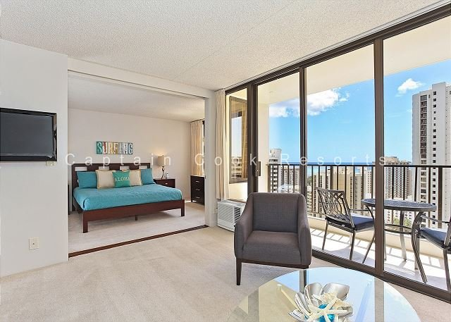 Partial Ocean View, one-bedroom with AC, WiFi, parking, short walk to beach! - Image 1 - Waikiki - rentals