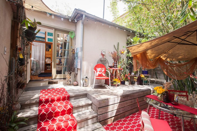Once you go through the french doors, this is your private patio. Your suite is at the top of stairs - West Hollywood Bungalow Experience~BEST Location! - West Hollywood - rentals