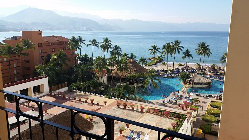 View from main balcony to downtown Puerto Vallarta and bay. - 2 bedroom Oceanfront condo at Sea River Towers - Puerto Vallarta - rentals