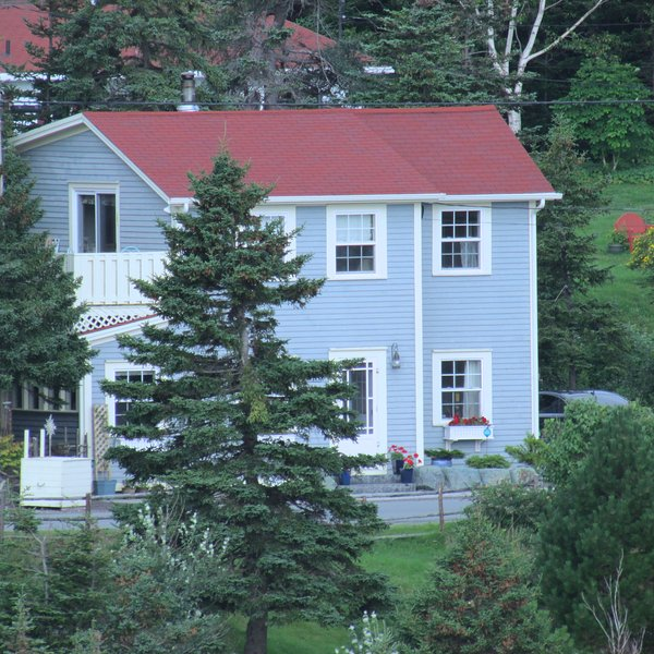 View of beautiful Blue House from Garden.  A narrow country road separates house from garden. - Blue House - Luxurious Vacation Home on the Ocean - Tors Cove - rentals