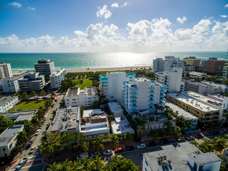 Aerial view of building- the blue one - Relax on your balcony with breathtaking Ocean Views- 2 BD South Beach SoFi - Miami Beach - rentals