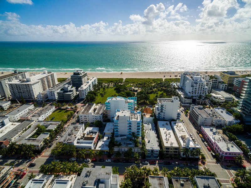 Aerial view of building- steps from the beach! - Gorgeous 2 Bedroom in the Heart of South Beach- Oceanfront Retreat - Miami Beach - rentals