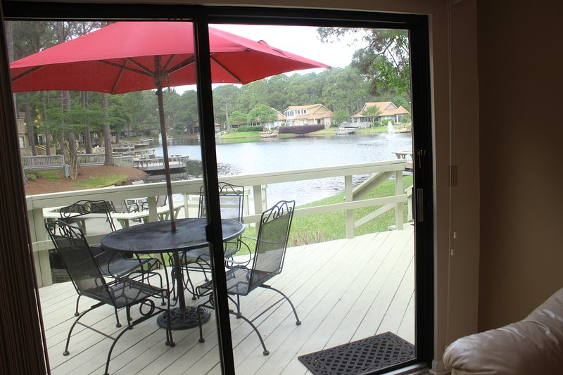 Relax on this deck overlooking a beautiful lake with lower deck on water. - Fairways 201 Sandestin - Miramar Beach - rentals