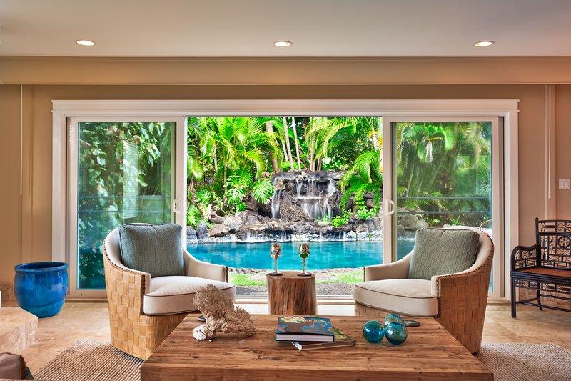 Sitting room view outside to pool - Maluhia - Kailua - rentals