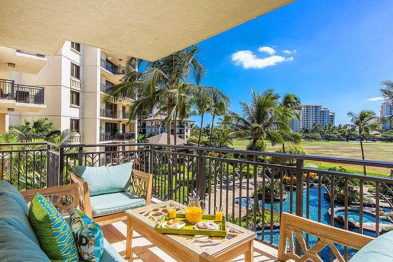 Pool view from lanai - B-305: Hale Moana Ko Olina Beach Villa - Kapolei - rentals