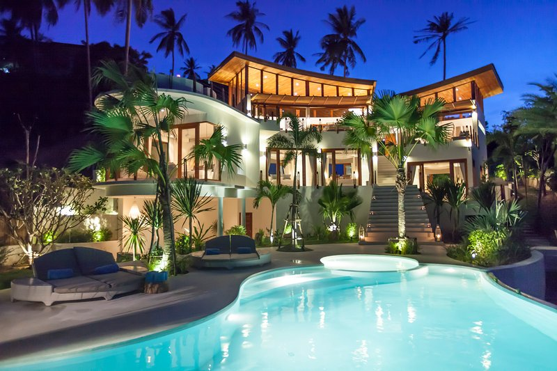 night time shot of Villa Kya - Villa Kya 4 bed designer villa stunning sea views - Bophut - rentals