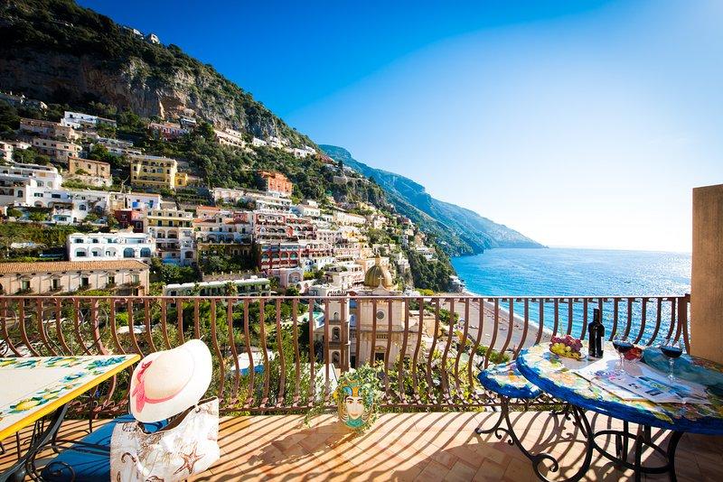 ammazing view main Church , main beach & Village right below - Villa le Sirene-shenic views of Positano & sea - Positano - rentals