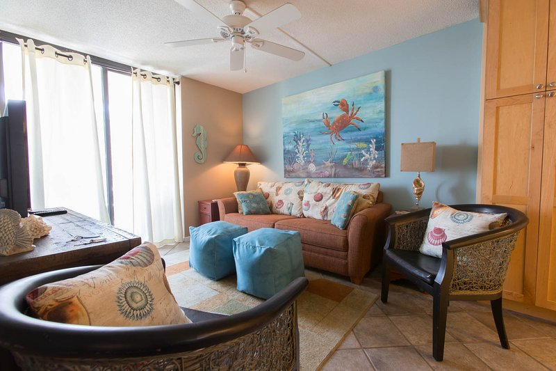 Well Appointed Living Area with Queen Sleeper Sofa - 405-B Private Beach, SPA Bath, Lagoon, Lush Pool - Gulf Shores - rentals