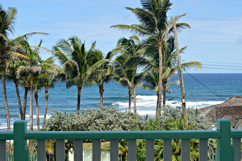 View of the waves at Soup Bowl from the patio - Brees Cottage Upper 2 bedroom - Bathsheba - rentals