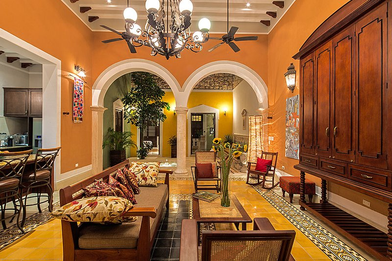 Beautiful Open Main Living - Casa Castellanos full of Light and Color - Merida - rentals