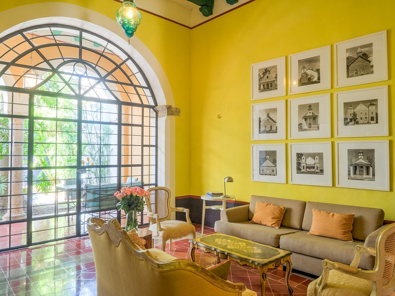 The living room with garden portico view - Orangerie de Santa Ana seen in Conde Nast Traveler - Merida - rentals