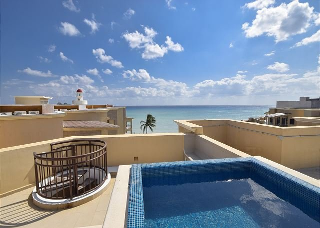 Plunge pool - Roof Terrace - Stunning Caribbean Beachfront Condo (EFC402) 35% off - Playa del Carmen - rentals