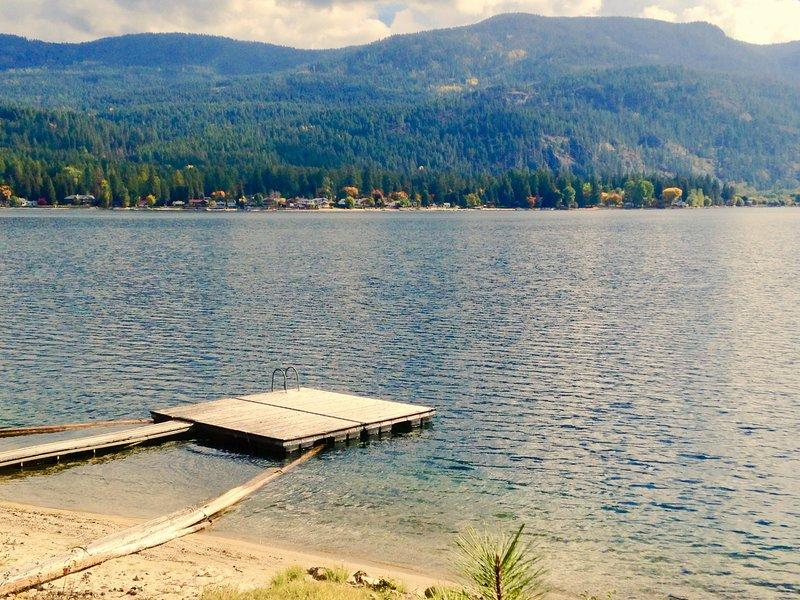 Spacious dock and sandy beach - Lakefront Recreational Vehicle on Christina Lake - Christina Lake - rentals