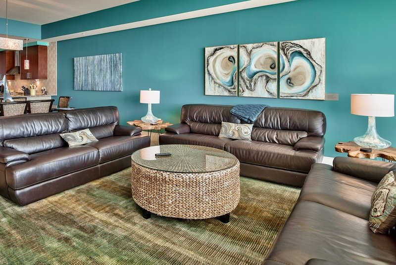 spacious living room, 3 leather couches plus reading chair, views of Gulf, coastal decor! - March 26 DISCOUNT! Cat's Meow at Turquoise Place C2007, Private Hot Tub on Gulf! - Orange Beach - rentals