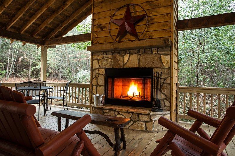 Wood burning fireplace on covered porch - Moose Lodge - Blue Ridge - rentals