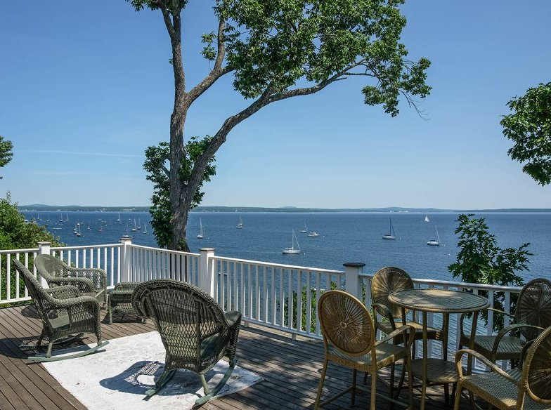 Roof Deck (elevation 60 feet) for deep ocean views - The Beehive Cottage, Northport, Maine (in Bayside) - Northport - rentals