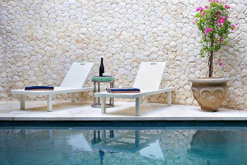 Sun bathe by the pool - New Bali Villa Salted-Water Pool 2 Bed Tropical Oasis - in the heart of Seminyak - Seminyak - rentals