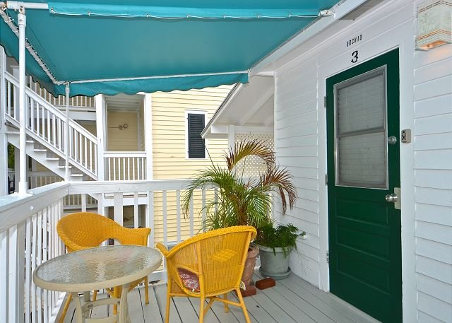 Enjoy morning tea on your cozy terrace - Orchid Suite - Cute Suite 1 Block to Duval! Pvt Parking! Perfect location! - Key West - rentals