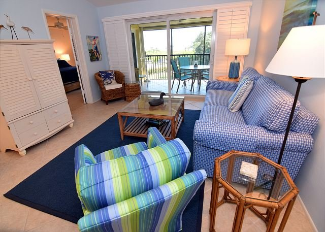 Living Room - Gulf view Sandpiper Beach condo with extras and Free WIFI - Sanibel Island - rentals