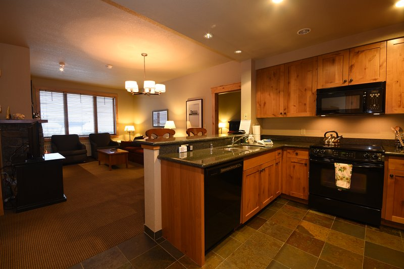 Condo #203 is fully furnished with a well stocked kitchen for all your cooking needs.  - Canadian AT PAR!  Ski-In/Out Luxurious Condo, Whitefish Mountain Resort - Whitefish - rentals