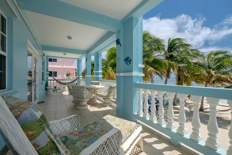 Can you beat the view?  Gorgeous second floor balcony with hammock, lounge chair and dining area - 3 bedroom condo on your own private beach! -C2 - San Pedro - rentals