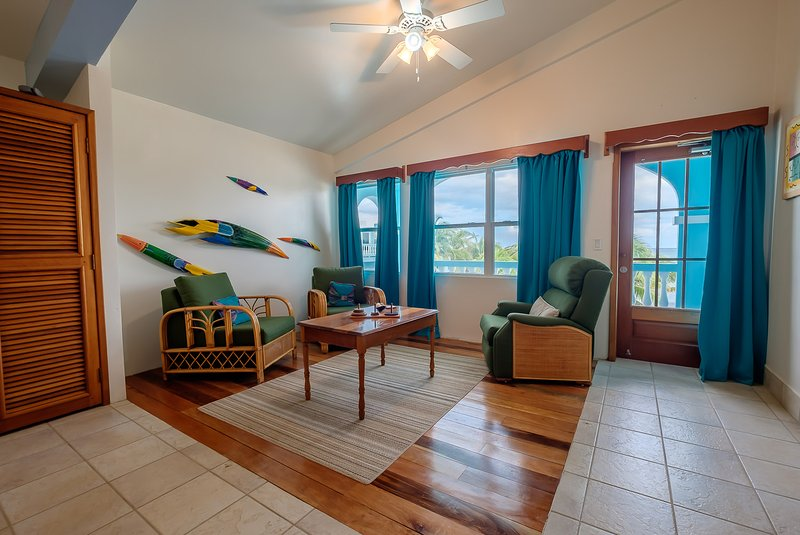 Stunning third floor sitting area in master bedroom. Door leads to third floor balcony! - 3 bedroom condo on your own private beach! -A6 - San Pedro - rentals
