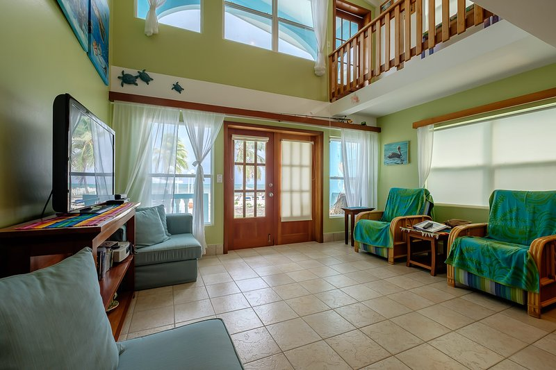 Living room! Great high ceilings and loft - 2 bedroom condo with loft on private beach! -A1 - San Pedro - rentals
