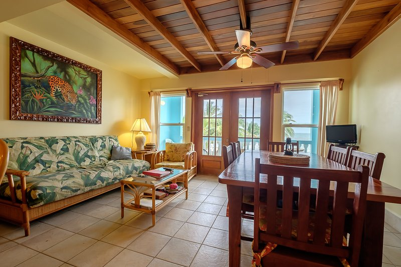 Gorgeous and bright living room with french doors leading to your second floor balcony! - 2 bedroom condo with loft on private beach! -A5 - San Pedro - rentals