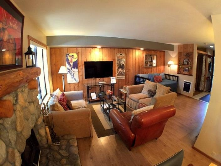 The tv is wall mounted on an articulating arm to get the perfect angle for you! - The Pines -- A Fun Mammoth Condo Near The Village - Mammoth Lakes - rentals