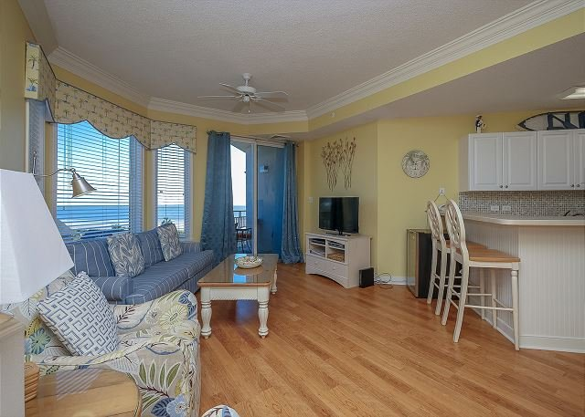 Living Area - 2411 SeaCrest-Beautiful 4th Floor  Oceanview & Updated. - Hilton Head - rentals