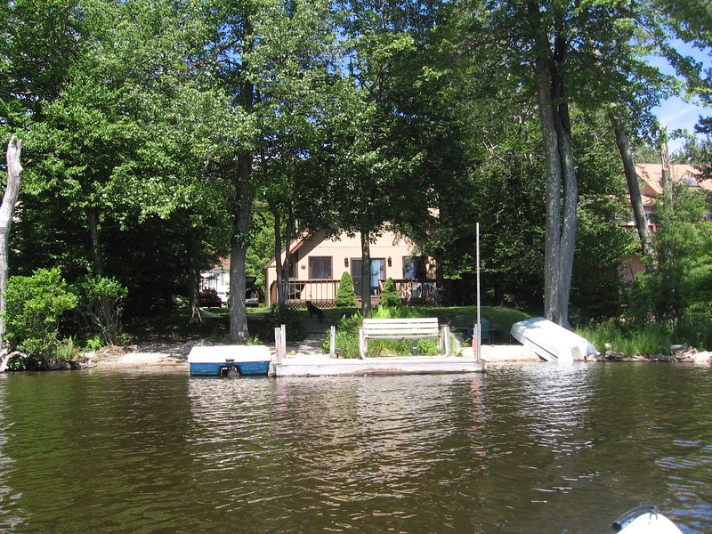 Lake side view of house from Kayak. - Lakefront Chalet with Boats, Beach, Dock, Sauna... - Tobyhanna - rentals