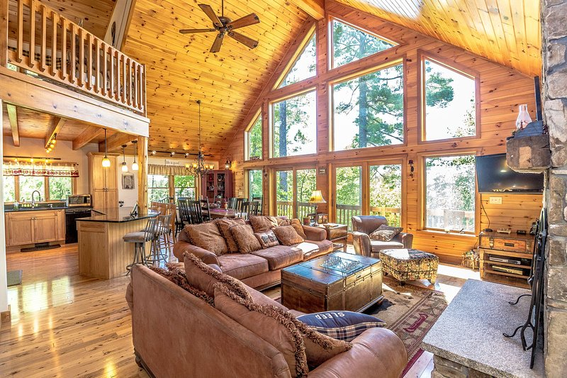 Floor to Ceiling Windows in Great Room with 4 French Sliding Doors to Access Wrap Around Porch/Deck - The Hive Luxury Mountain Log Home at Shawnee Peak / Moose Pond - Bridgton - rentals