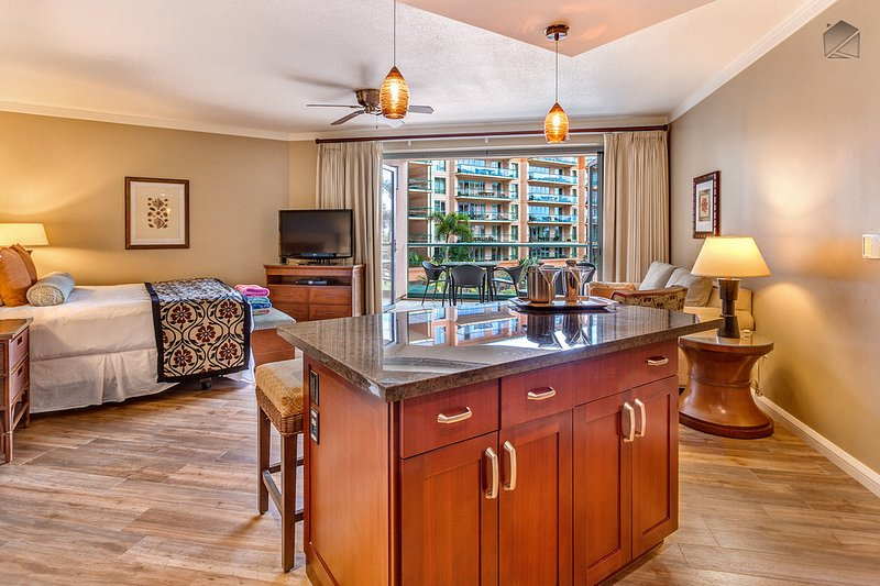 The studio condo features a king bed, a full kitchen, a flatscreen TV with blu-ray dvd player, a full size sofa sleeper, and its own private lanai. - Beachfront with Luxury Hotel Amenities at Maui's #1 Resort, Kitchen & More Space - The Leilani at 331 Konea - Ka'anapali - rentals