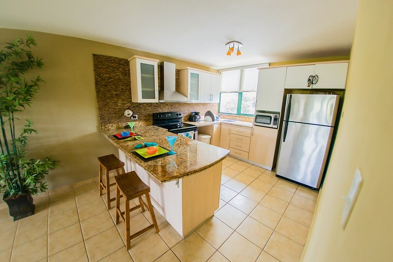 Beautiful kitchen with granite countertops and just like new appliances - Beachfront Apt at Aquatika - Loiza - rentals