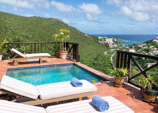 Pool with view - Moondance: Charming 2 bedroom villa overlooking the sea | Island Properties - Saint Martin-Sint Maarten - rentals