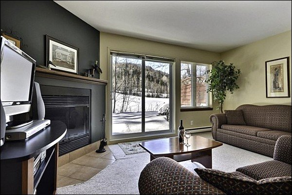 The Living Area Features Cozy Furnishings and Stunning Decor - Beautiful Views of Golf Course - Just a Walk to the Shared Pool (6001) - Mont-tremblant - rentals