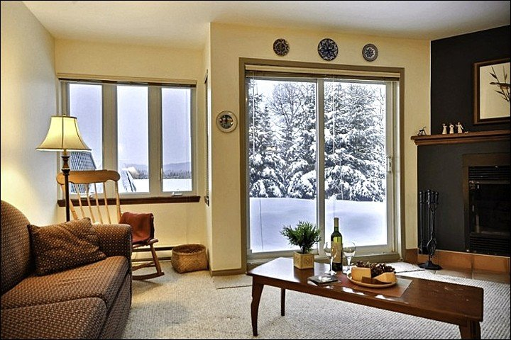 The Living Area Offers you a Inviting Space Including a Sleeper Sofa - Cozy Wood Burning Fireplace - Gorgeous Mountain and Resort Views (6005) - Mont Tremblant - rentals
