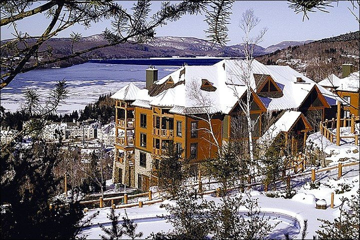Winter View of Complex Exterior - Lovely View of Forest & Lake Tremblant - Convenient to Mountain & Village Activities (6080) - Mont Tremblant - rentals