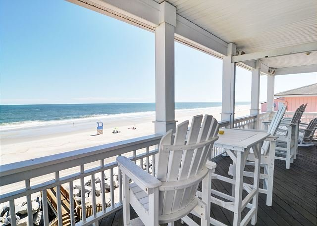 Dolphin Watch 1 - Oceanfront Deck - Dolphin Watch 1 -  Enjoy this spacious oceanfront duplex with panoramic views - Carolina Beach - rentals