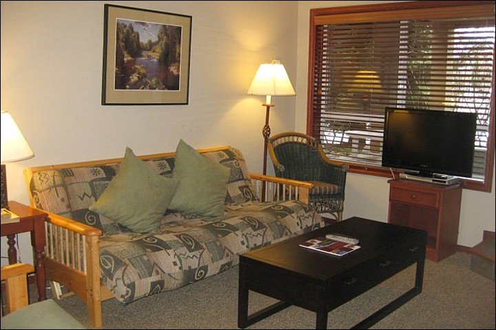 Cozy Living Room Features a Large Flat Screen TV - Across from the Whistler Market Place - Comfortable Accommodations & Fine Amenities (4017) - Whistler - rentals