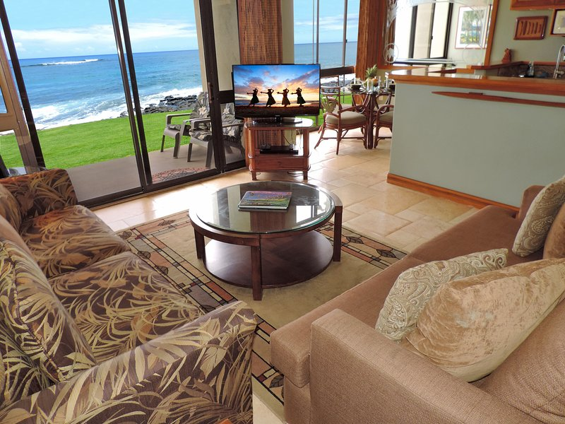 Kuhio Shores 113 is RIGHT ON THE WATER.  Spectacular views from THE ENTIRE LUXURIOUS CONDO - RIGHT ON THE BEACH IN BEAUTIFUL POIPU! - Poipu - rentals